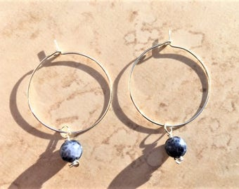 Sterling Silver Hoop Earrings with Interchangeable Sodalite Crystal Charm