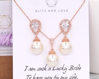 Rose Gold Pearl Earrings, Swarovski pearl drop, Wedding Bridal jewelry necklace gifts, Bridesmaid earrings, Charlotte E262 N81