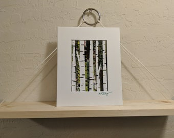 Birch Trees Recycled Magazine Wall Art