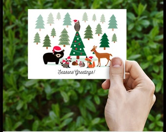 Printable Christmas Card Woodland Holidays with Forest Animals, DIY, Print Your Self