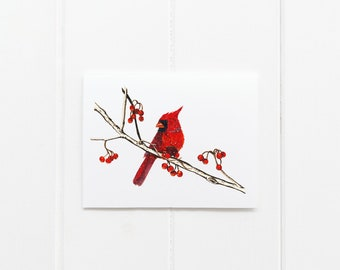 Cardinal Illustration Watercolor Card