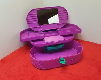 Vintage extra  large caboodle with mirror, pink, purple, green caboodle, make up case, train case, 3 tiers and extra storage container 2650