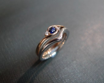 Blue Sapphire Wedding Ring / Ring set / Blue Sapphire Engagement Ring / Blue Sapphire Diamond Ring / Diamond Wedding in 14K White Gold