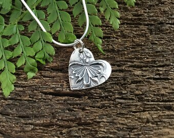 Flower fairy, love heart, silver heart pendant, silver necklace, gift for her, teenage girl gift, silver heart, dancing fairy