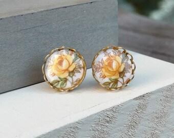 Yellow Rose Stud Earrings - Ceramic Vintage Cabochons - Yellow Flowers - Lace Bezel - Studs - Post Pierced - Handmade