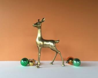 Vintage Brass Deer, Deer Figurine, Large Brass Deer, Deer Sculpture, Brass Animal,Brass Figurine,Gold Deer,Vintage Christmas,Christmas Decor
