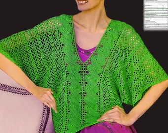 V-neck crochet tunic PATTERN, boho crochet tunic PATTERN, CHART and basic instructions in English, charts are not interpreted in words!