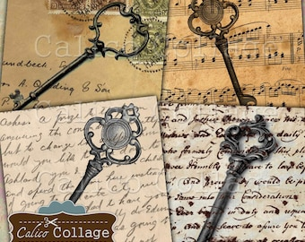 Vintage Keys Digital Collage Sheet 4x4 Inch Coaster Images, Printable Images for Coasters, Decoupage, Scrapbooking, Card Making, 2x2 Squares