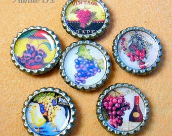 Grapes - Bottle Cap Magnets Set of 6