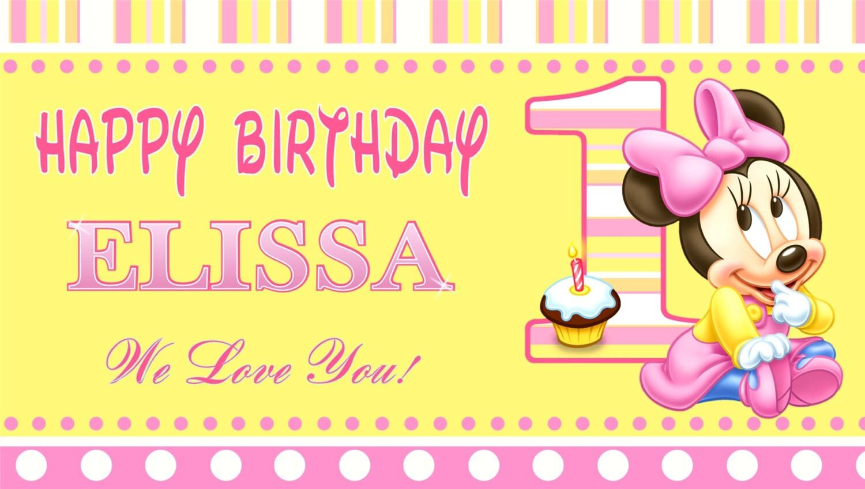 Baby Minnie Mouse Happy Birthday Banner Birthday Banner