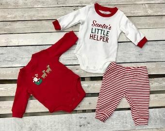Santas Little Helper Onesie , Girl Onesie, Baby Shower Gift, Baby Boy Onesies, Christmas Onesie, 3 Piece Set