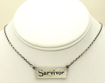 Survivor Silver Necklace, Scrolled Word Pendant in Solid Silver, Silver Rolo Chain, Domestic Violence, Cancer Survivor