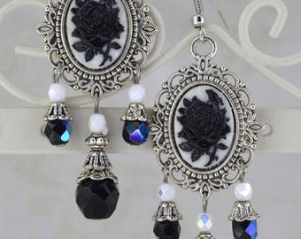 La Rose Gothique - Beautiful Black Rose Cameo Earrings