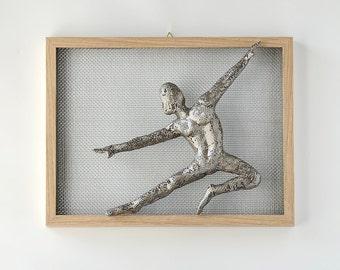 Metal wall art picture,  dancing man, Framed art, Wire mesh sculpture, wall decor, Contemporary wall art