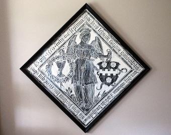 Flemish Brass Rubbing, Dutch Angel, Renaissance Art, Black Wax, 1550 Monumental Brass, Breda Netherlands, Vintage Framed Wall Hanging