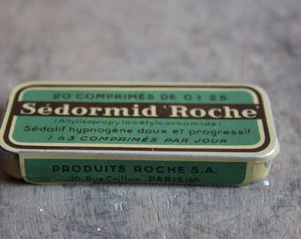 Box advertising antique litho medical vacuum Sedormid rock 1935-55 collection France medicine box