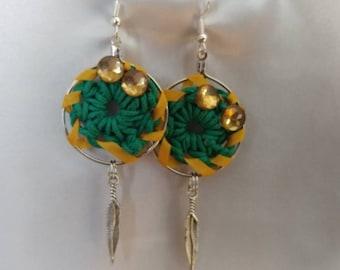 Earrings - Hoop Earrings - Dream Catcher Earrings - Crochet Earrings