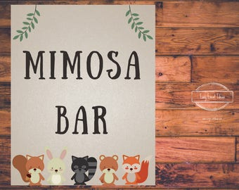 Woodland Creatures Baby Shower Mimosa Sign | Printable | Instant Download
