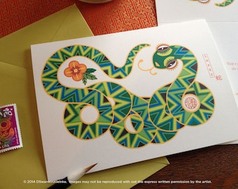 Snake Chinese New Year Card - Chinese Zodiac Snake