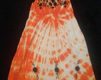 Bright Orange Tie Dye Dress