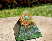 Moss Agate Orgone Pyramid - Spiritual Gift - Feng Shui Decor - EMF Protection - Yoga Meditation Aid - Heart Chakra Healing