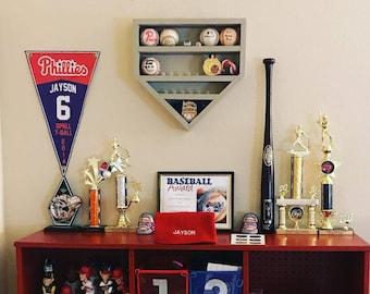 Baseball Homeplate Ball & Ring Trophy Case