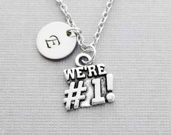 We're #1 Necklace, We Are Number One, Team Sport, BFF, Friend Birthday Gift Silver Jewelry Personalized Monogram Hand Stamped Letter Initial