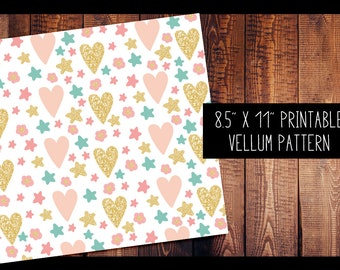 Hearts and Stars Vellum | PRINTABLE VELLUM PATTERN Digital, for use in Erin Condren Planners, Vellum, Travelers Notebook, Printable, Digital