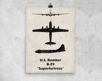 B-29 Superfortress Print, Fathers Day Gift, Vintage Airplane, WWII Airplanes, Aviation Print, Airplane Poster, Boys Room Decor