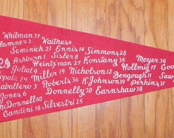 Beautiful 1950 Fightin Phillies Philadelphia Phillies Pennant With Entire Roster Listed - Antique Baseball Memorabilia