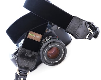 Black Velvet DSLR Camera Strap with Camera Hand Strap -- 1.5 inches wide -- The ZELDA Black Camera Neck Camera Strap for DSLR or Mirrorless