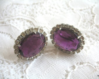 Vintage Rhinestone and Amethyst Glass Cab Earrings ~ Clip On