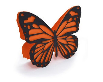 Orange & Black Butterfly Card , Blank inside  , PaperCut , 3D Pop UP , Spring , Flying , Summer