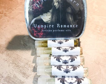Vampire Perfume Set / Gothic Perfume / Gothic Valentine Perfume / Dark Valentine's Vampire Perfume / Handmade Perfume Oil