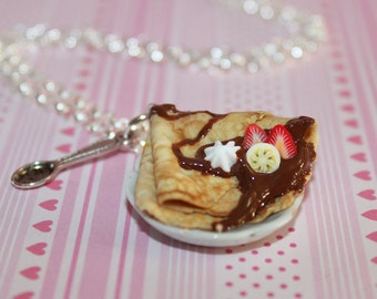 Chocolate French Crepe Necklace - Food Necklace - Kawaii Necklace