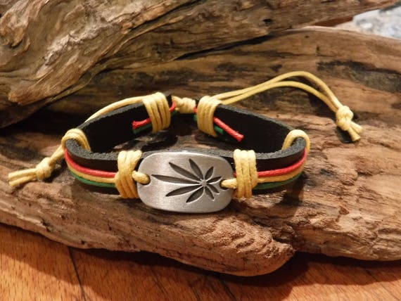 Cannabis Leaf Bracelet Weed Bracelet Tribal Leather Bracelet Adjustable African Jamaican  Leather Weed Bracelet Hippy Leaf Bracelet surfers