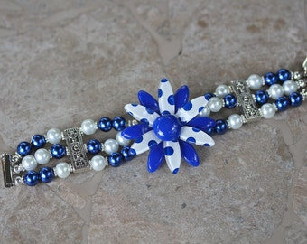 Flower Power Bracelet, Vintage, Hand Beaded, Pearl, Royal Blue,Silver, Cobalt, Magnetic Clasp, Reclaimed, Jennifer Jones, OOAK - Royal Polka