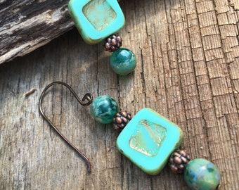 turquoise Picasso glass and copper dangle earrings, aqua drop earrings, boho earrings, gift for her, European earrings, imported earrings,