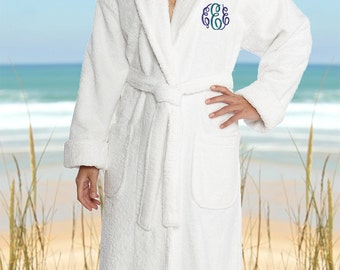 Personalized Full Ankle Length Terry Shawl Bathrobe, Embroidered Bath Robe, Personalized Shawl Bathrobe,  100%  Combed Pure Turkish Cotton