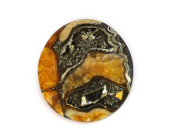 Fossil Ammonite with Nautral Pyrite Druzy Designer Cabochon Gemstone 51.5x55.8x7.7 mm 155.0 carats Free Shipping