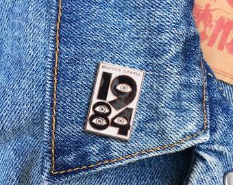 1984 Pin, George Orwell, Hard Enamel Pin, Jewelry, Art, Literature, Bookworm, Gift (PIN84)