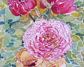 Peony on Point original 8 by 10 watercolor