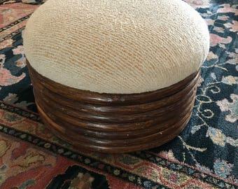 vintage rattan foot stool ottoman boho decor bentwood Fort Smith Chair Co 1986