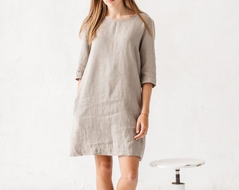Shift dress/ Linen simple dress/ Basic linen dress/ Loose dress/ Washed linen dress/ Soft linen dress/ Linen tunic/ #11 JANID