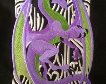 Messenger Bag, Dragon Embroidery, Cotton Canvas