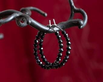 Saturn - Pure titanium hoop earrings with black spinel beads -  hypoallergenic earrings for sensitive ears
