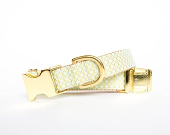 Mint and Gold Dog Collar, Metallic Gold