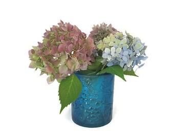 Sascha Brastoff Blue Resin Candle Holder - Grape Leaves, Heavy Thick, Plastic Vase, Repousse, Vintage Candlestick, Vintage Home Decor