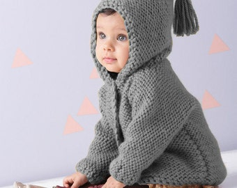 Tassel Hooded Coat Baby Knits, Toddler Knit Coat, Newborn Knit Coat, Baby Girl and Baby Boy Hoodie