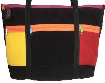 totebag, fleece totebag, medium totebag, outside pockets totebag, zip top totebag, colorful totebag